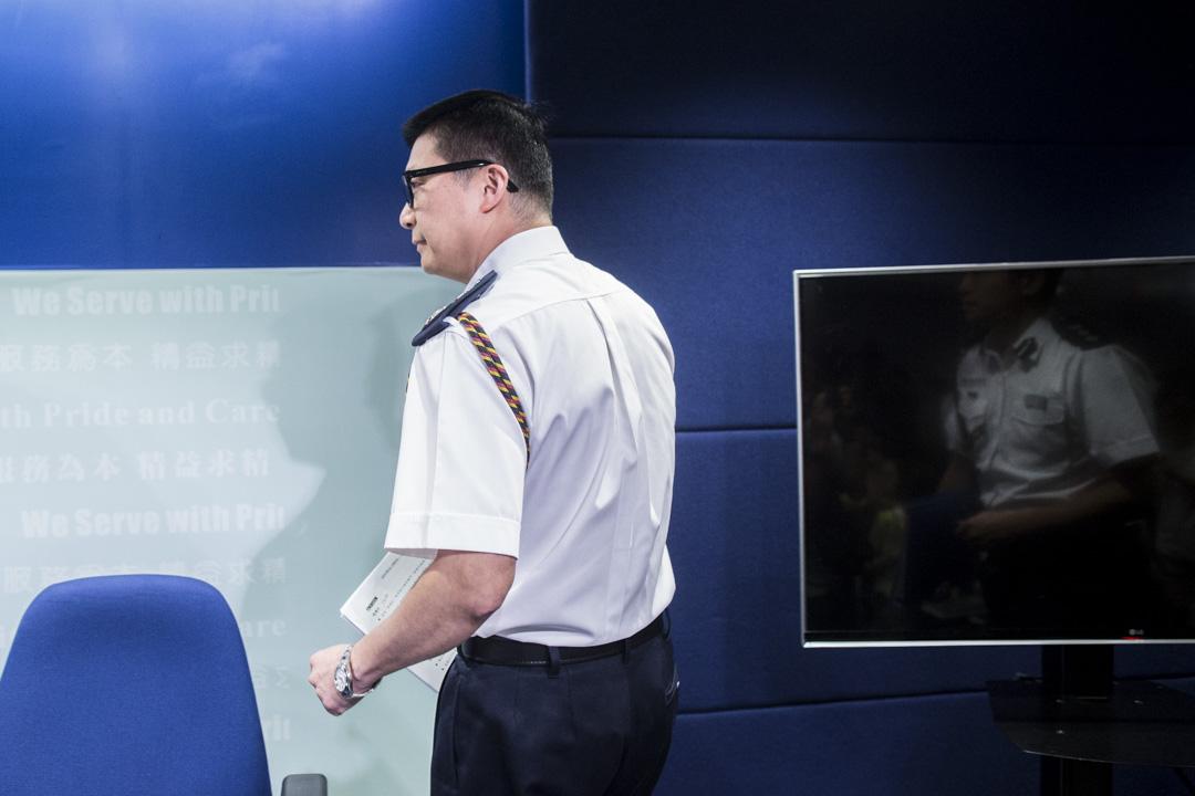 2019年8月12日,警務處副處長(行動)鄧炳強出席警察召開例行記者會。