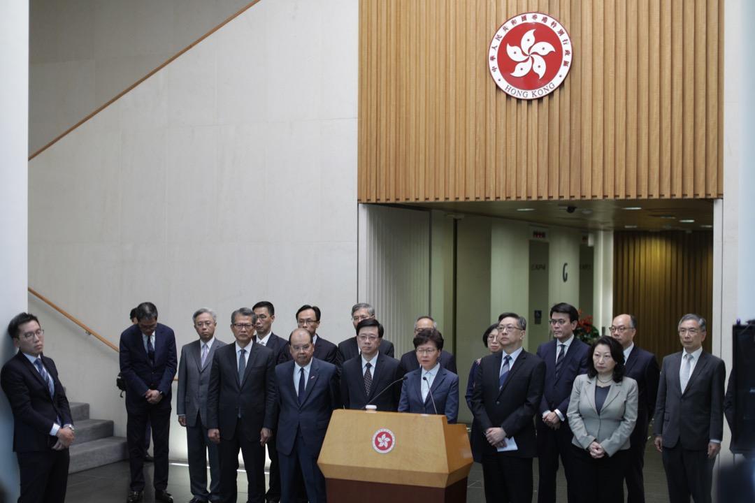 2019年7月22日,香港行政長官林鄭月娥率領問責團隊召開記者會,回應7月21日反修例示威的警民衝突事件。