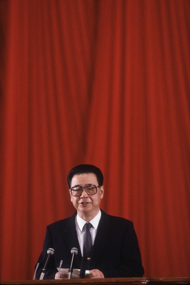 1989年10月1日,李鵬於中華人民共和國成立40周年大會上發表講話。