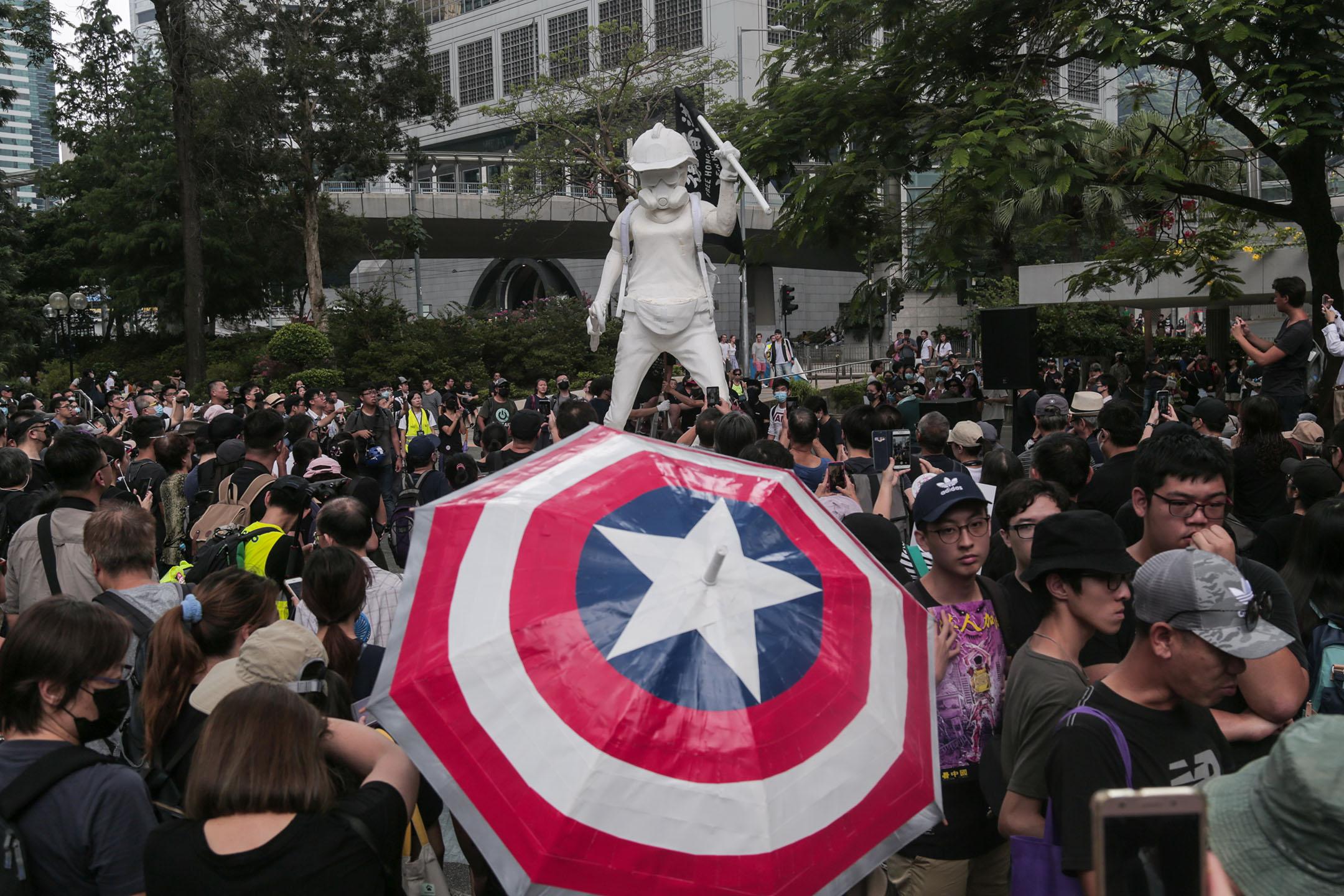 2019年9月8日,「香港民主女神像」在中環舉行的香港人權與民主祈禱會現場。