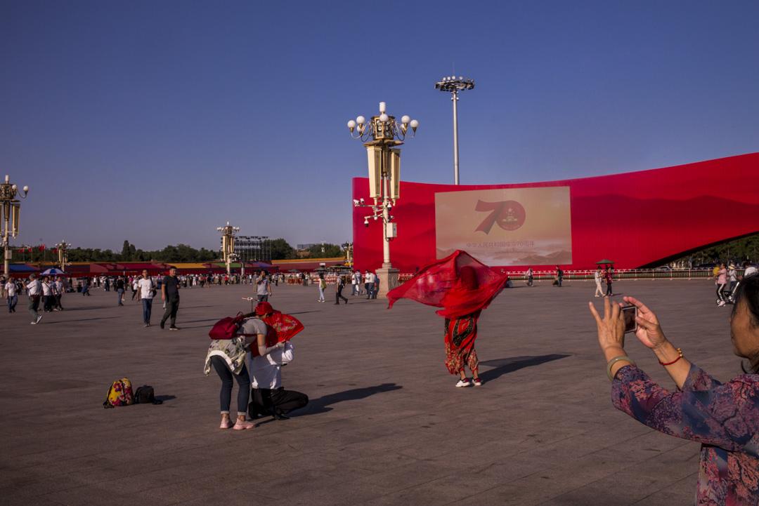 2019年9月24日,北京天安門廣場有中共建政70週年的慶典佈置。 攝:林振東/端傳媒