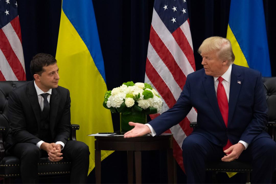 2019年9月25日,美國總統特朗普與烏克蘭總統澤連斯基在紐約會晤。 攝:Saul Loeb/Getty Images