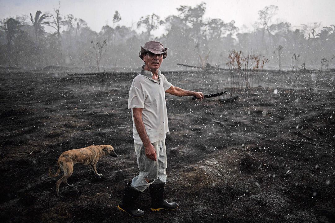 2019年8月26日,巴西農民Helio Lombardo Do Santos和他的狗在巴西亞馬遜雨林一個被燒毀的地區散步。