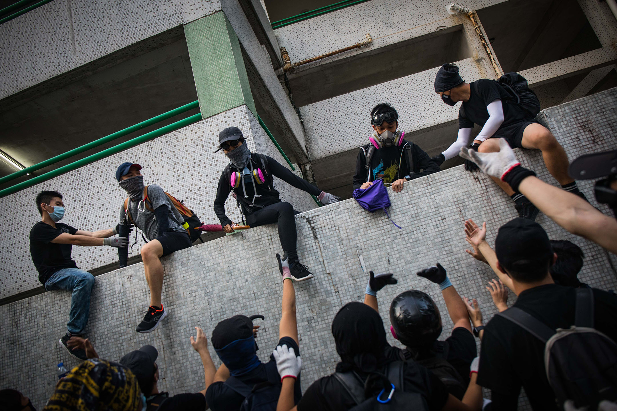 2019年9月21日,被警察追捕的示威者。