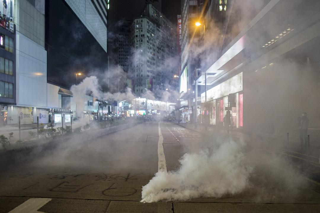 2019年9月8日,警察在銅鑼灣市中心施放催淚彈。