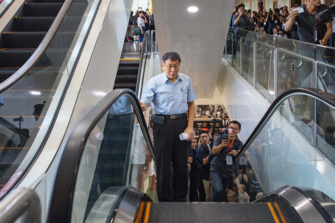 2019年8月6日,台北市長柯文哲舉辦「台灣民眾黨」首次創黨籌備大會,宣布將以台灣為名、以民眾為本。 攝:陳焯煇/端傳媒