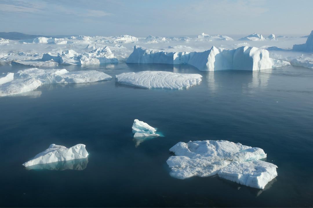 2019年8月3日,格陵蘭島附近冰川融化加速。 攝:Sean Gallup/Getty Images