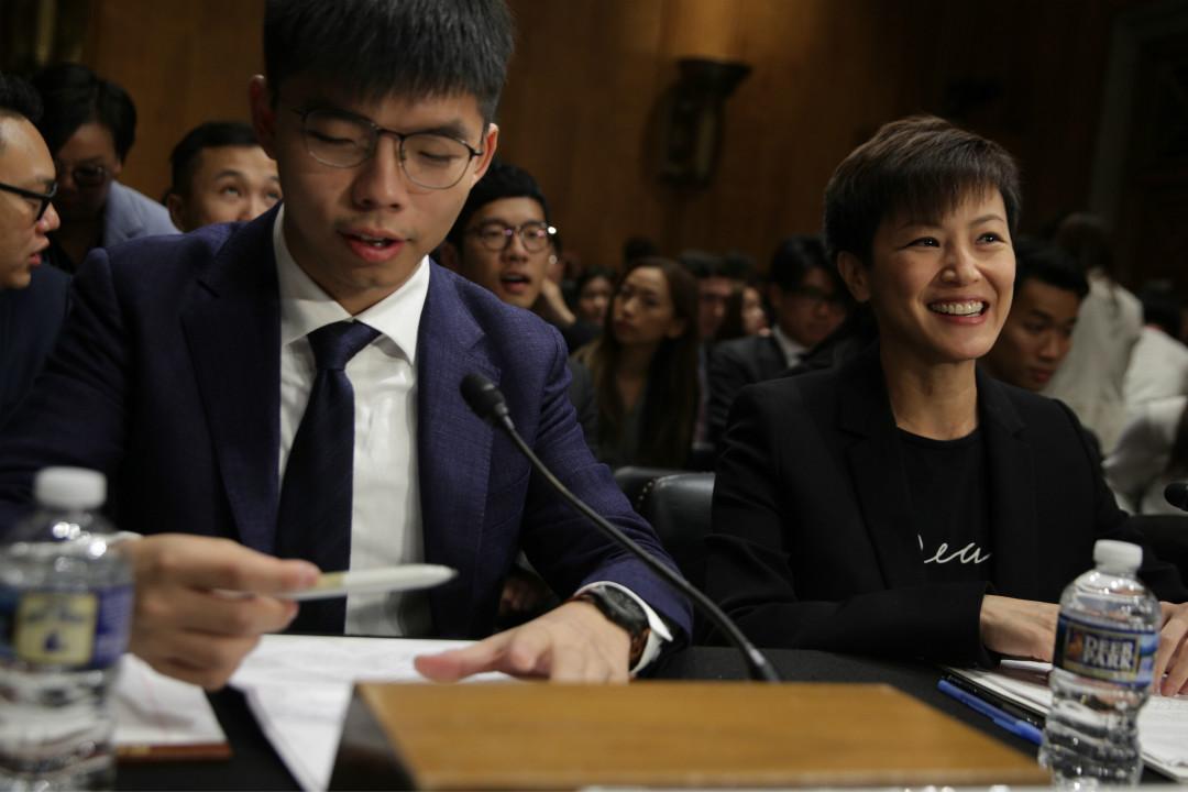 2019年9月17日,香港眾志黃之鋒、藝人何韻詩等人出席美國國會聽證會。