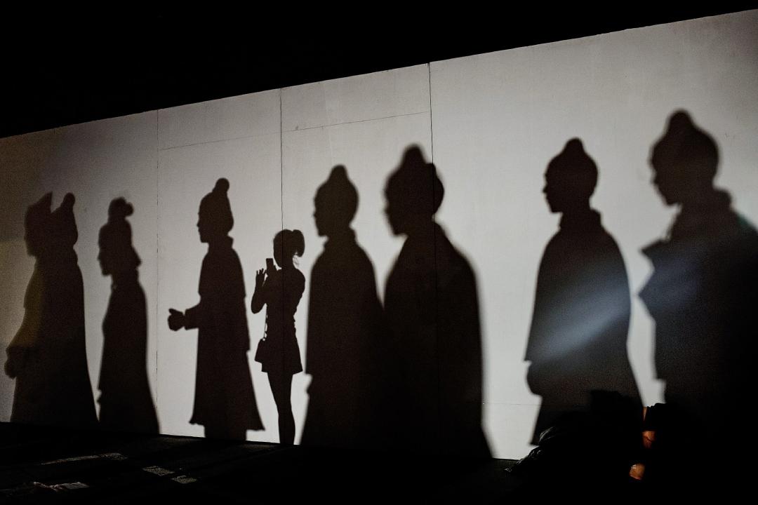 2014年9月3日,一名女士在北京的展覽上拍攝。