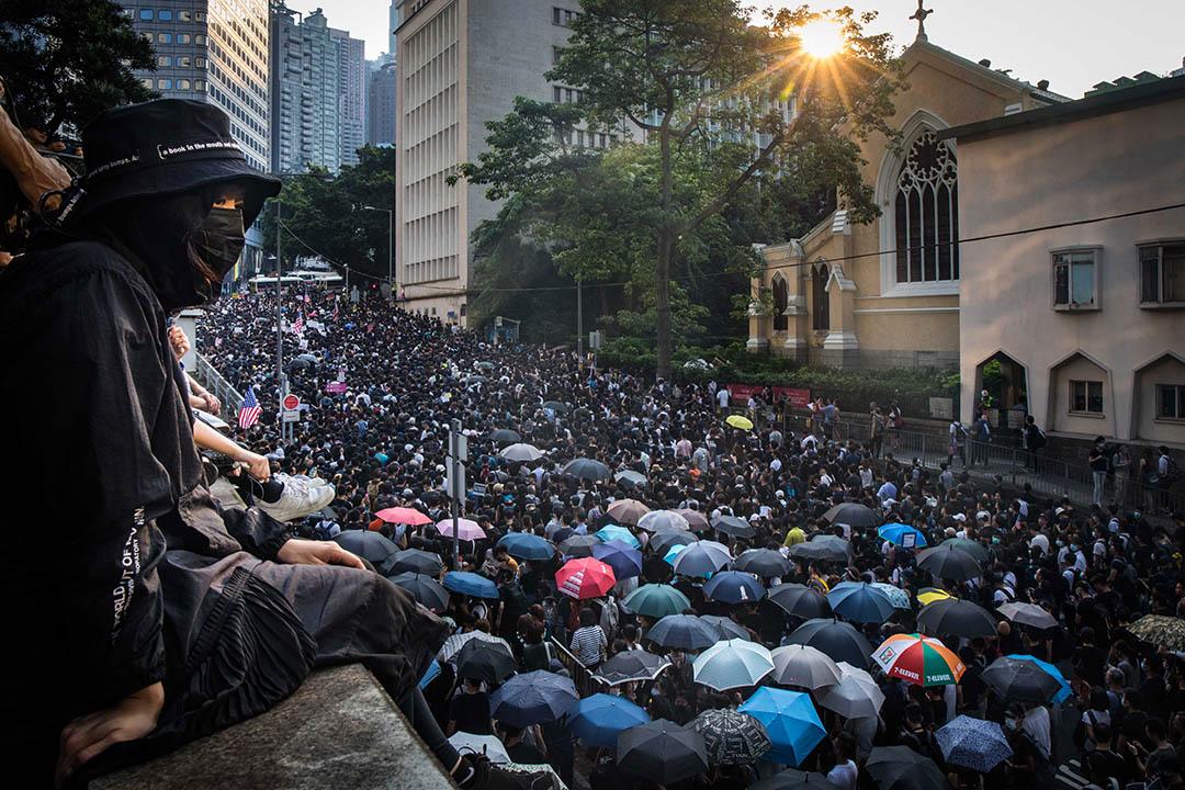 2020年9月8日,參加香港人權與民主祈禱會的示威人群。 攝:陳焯煇/端傳媒