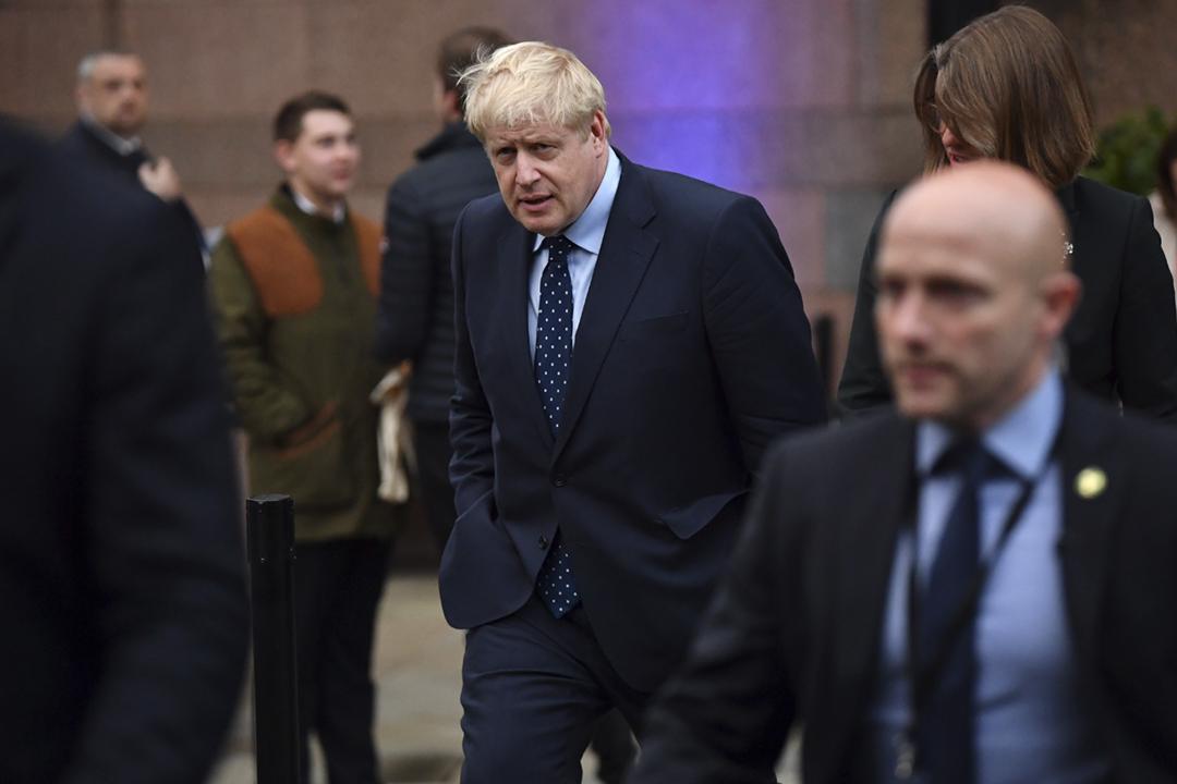 2019年9月29日,英國首相約翰遜(Boris Johnson)在曼徹斯特出席執政保守黨週年大會。 攝:Jeff J Mitchell / Getty Images
