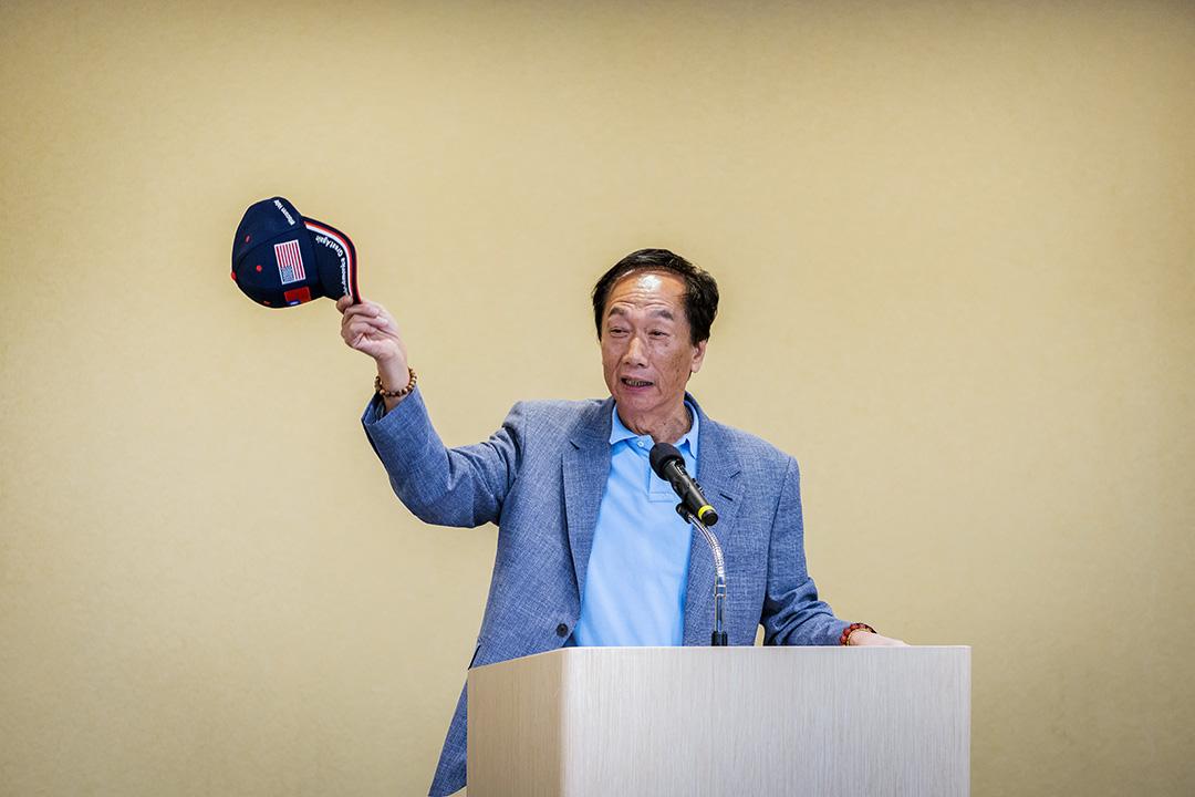 富士康科技集團董事長郭台銘於2019年5月6日在台北舉行的新聞發布會上。 攝:Billy H.C. Kwok/Bloomberg via Getty Images