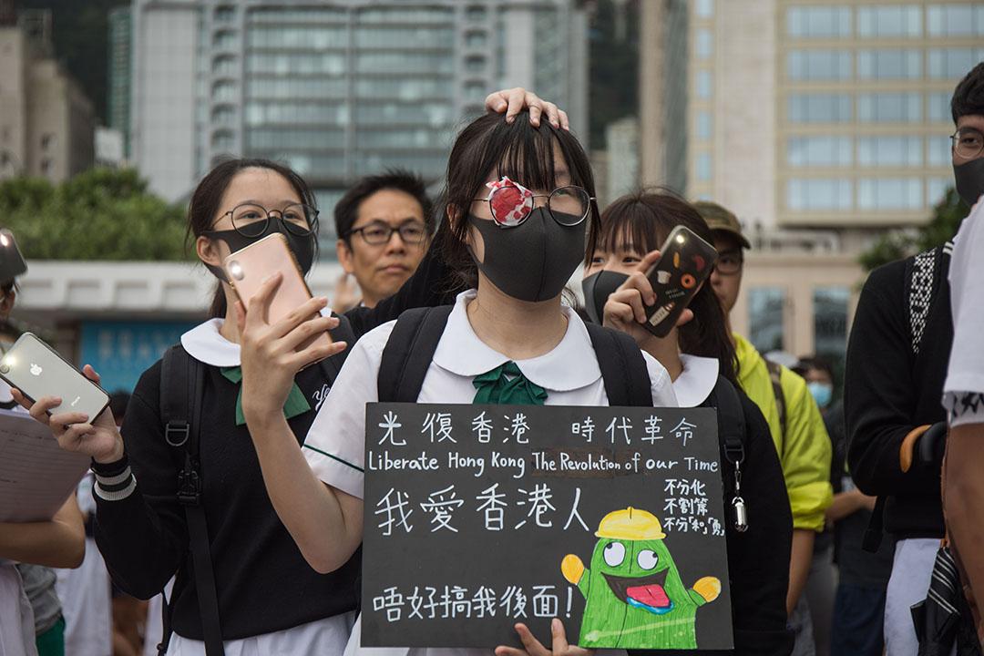 9月2日,中環愛丁堡廣場上舉行中學生罷課集會。