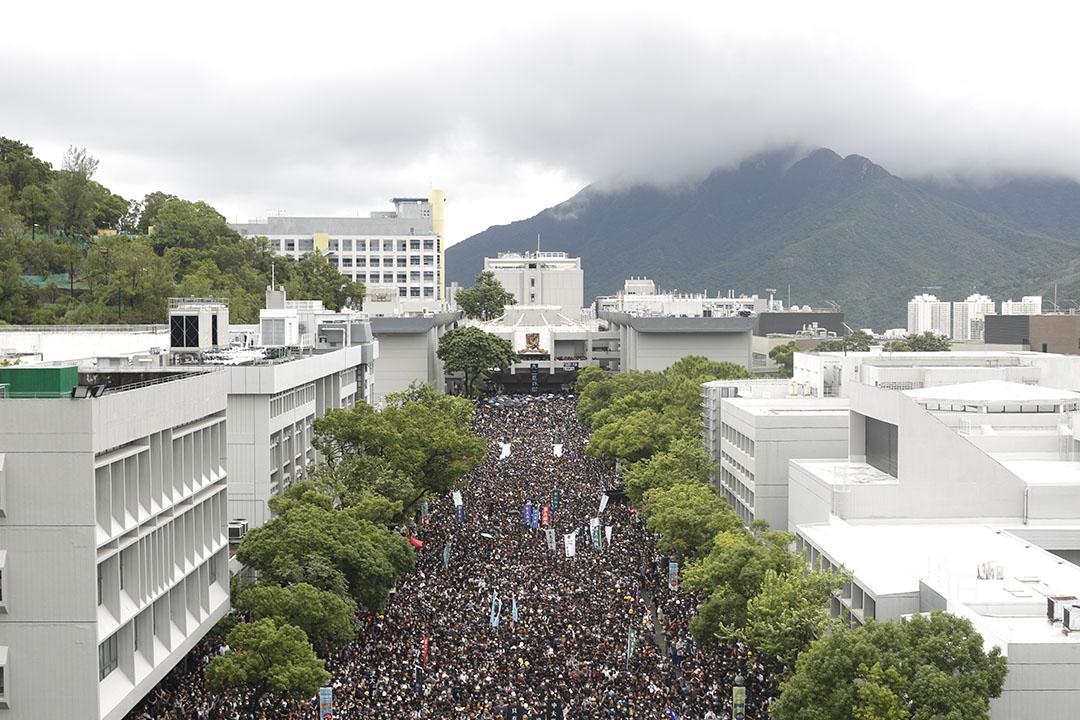 9月2日,中文大學百萬大道,大專學界舉辦罷課集會的現場。