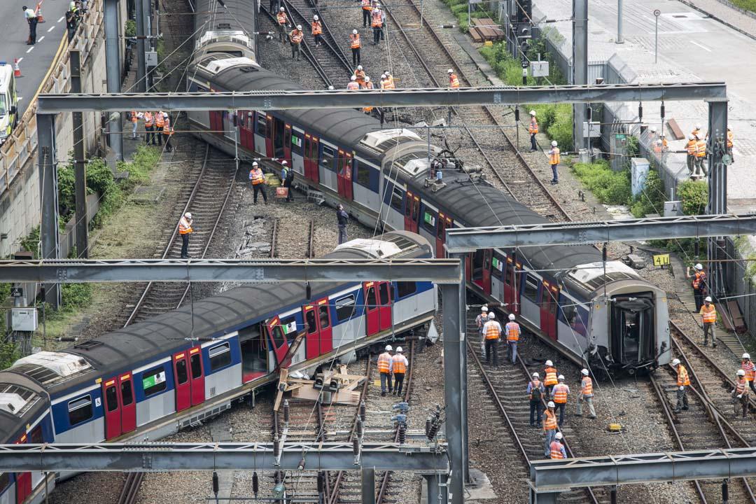 2019年9月17日,港鐵東鐵綫紅磡站有列車出軌,原因仍待調查。 攝:林振東/端傳媒