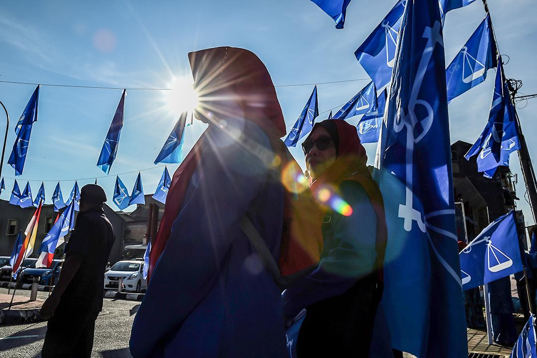 2018年4月28日,馬來西亞國民陣線的支持者於選舉提名日集會。