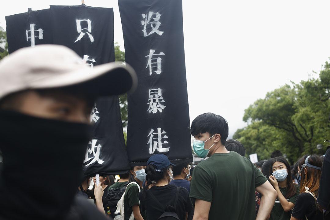 9月2日,中文大學百萬大道,學生在罷課集會。