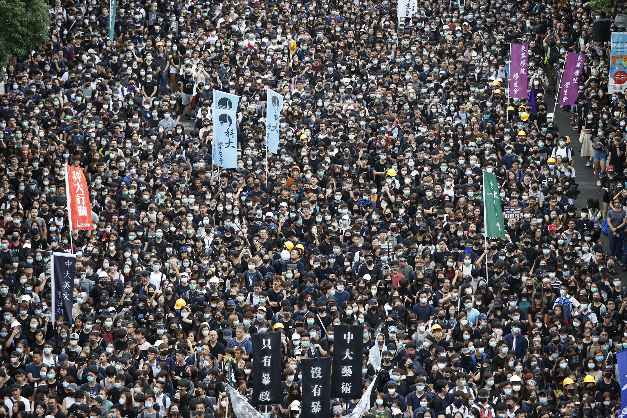 2019年9月2日,中文大學百萬大道,大專學界舉辦罷課集會。 攝:林振東 / 端傳媒