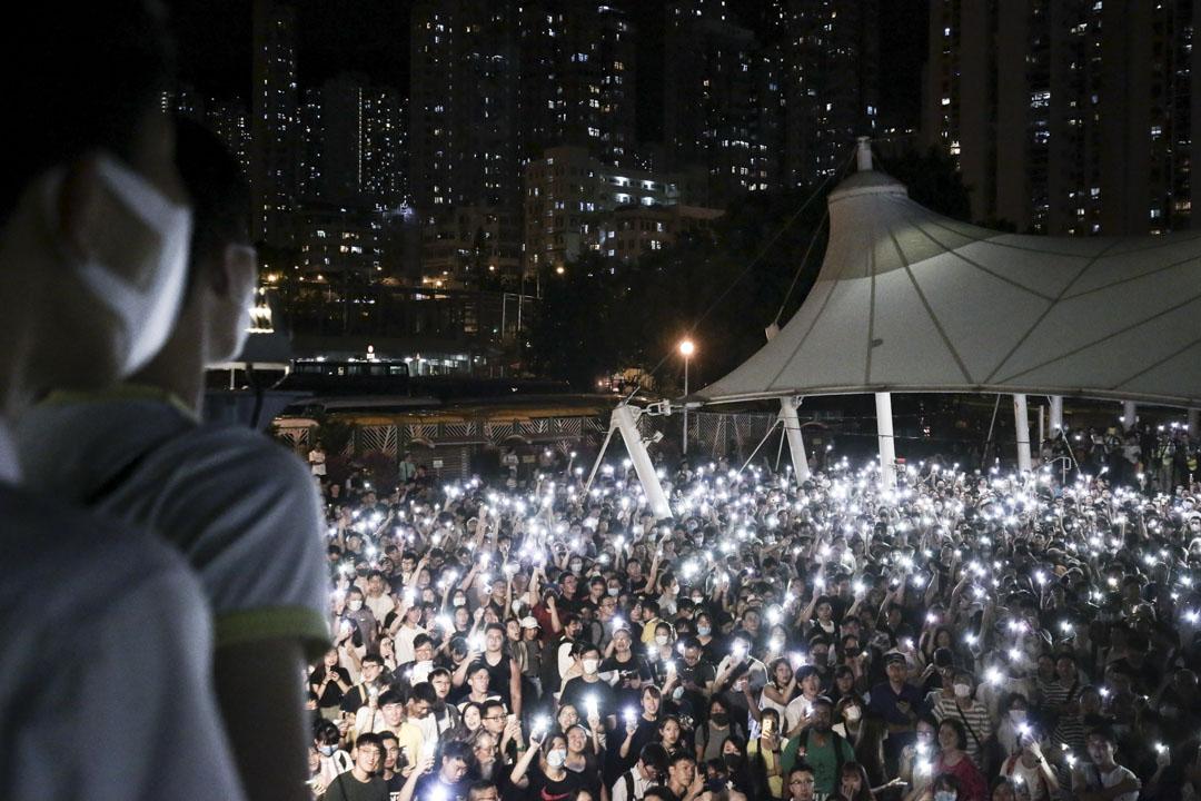 2019年9月10日,黃大仙廣場,市民一齊唱《願榮光歸香港》。