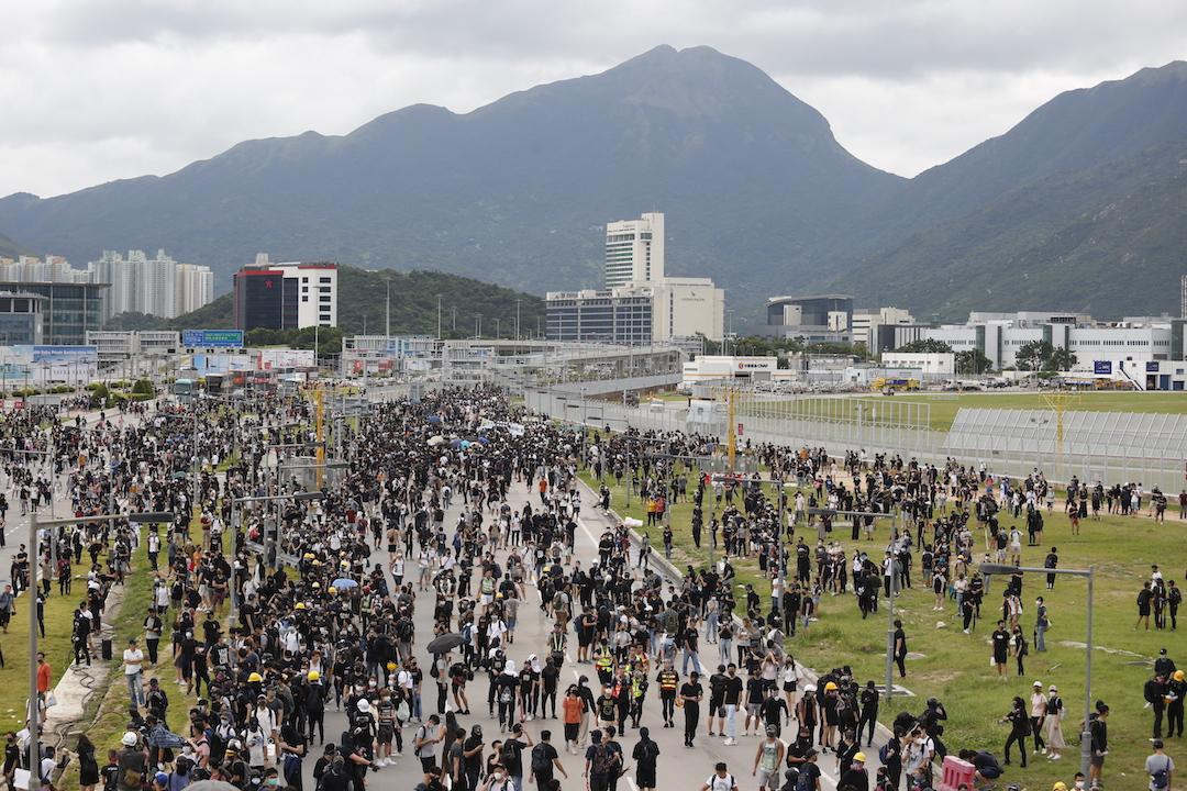 2019年9月1日,大批示威者聚集於東涌區內。