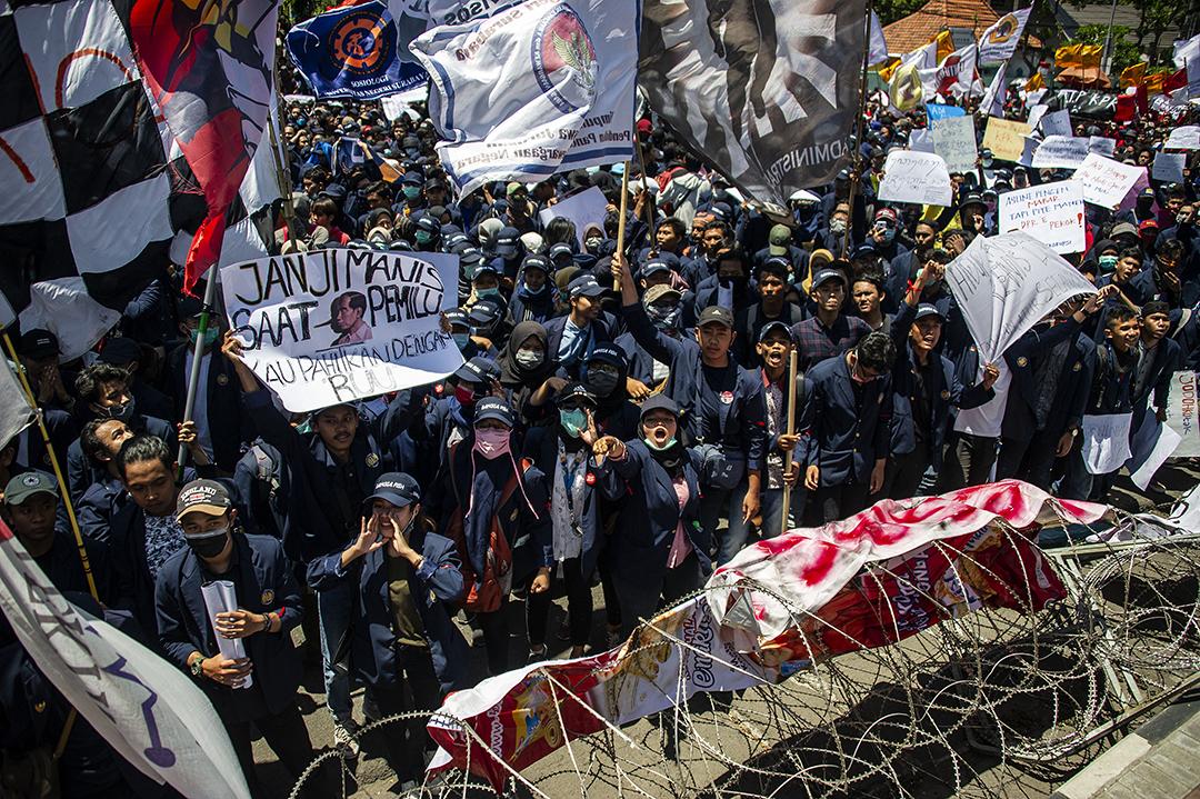 印尼連日引發大規模示威。 攝:JUNI KRISWANTO/AFP/Getty Images