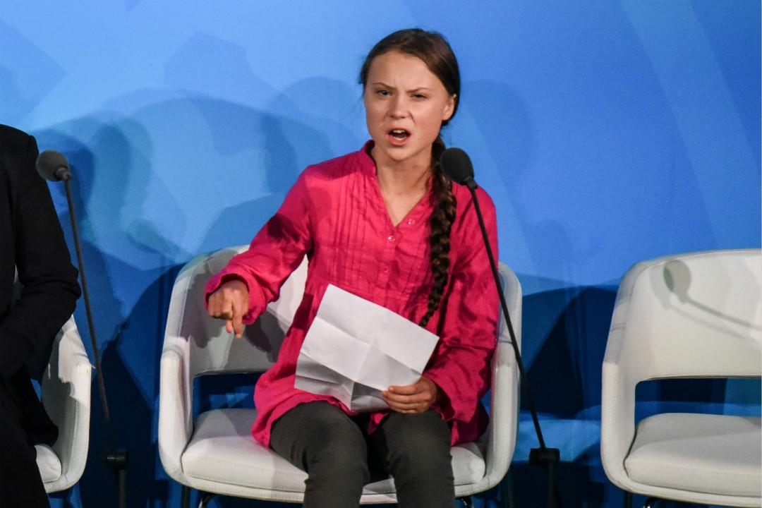 2019年9月23日,紐約聯合國總部,瑞典16歲氣候活動家通貝里(Greta Thunberg)在「氣候行動峰會」發言。 攝:Stephanie Keith/Getty Images