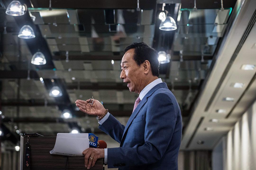 2019年6月22日,富士康科技集團前董事長郭台銘於台北舉行的「全球產業秩序的解構與創新G2 and Beyond」論壇上發表講話。 攝:Billy H.C. Kwok/Bloomberg via Getty Images