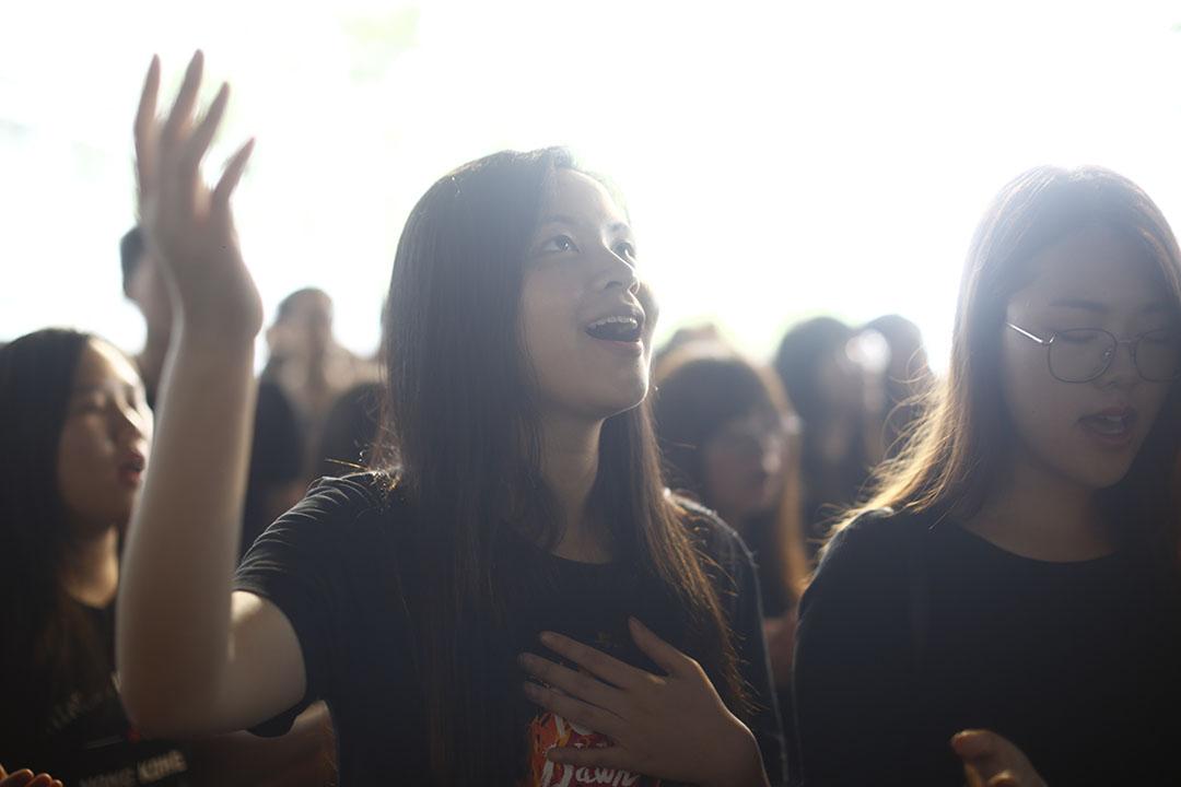 9月2日,基督徒在中文大學科學館底下舉行祈禱會。