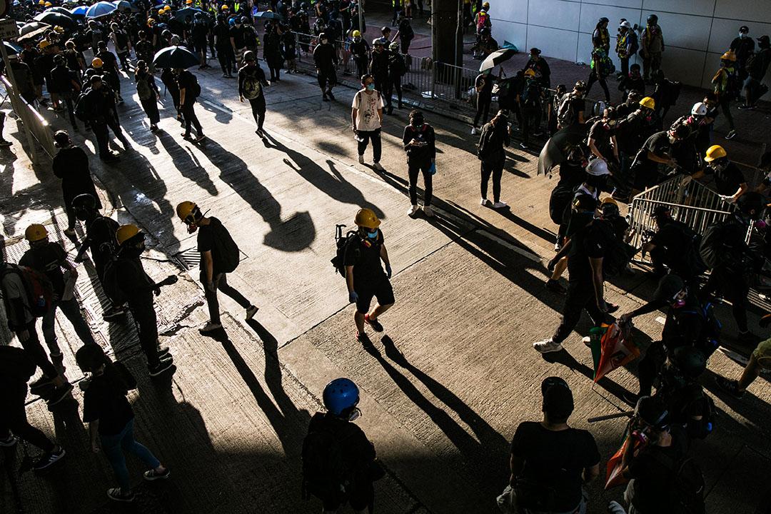 9月21日,五時半左右,參加光復屯門公園遊行的示威者。