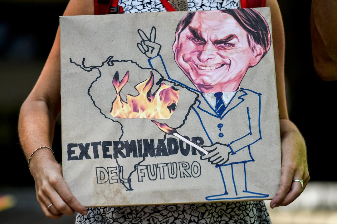 2019年8月23日,有關注氣候變化人士抗議巴西總統博爾索納羅於對亞馬遜雨林所做的保護太少,引成巨大火災。