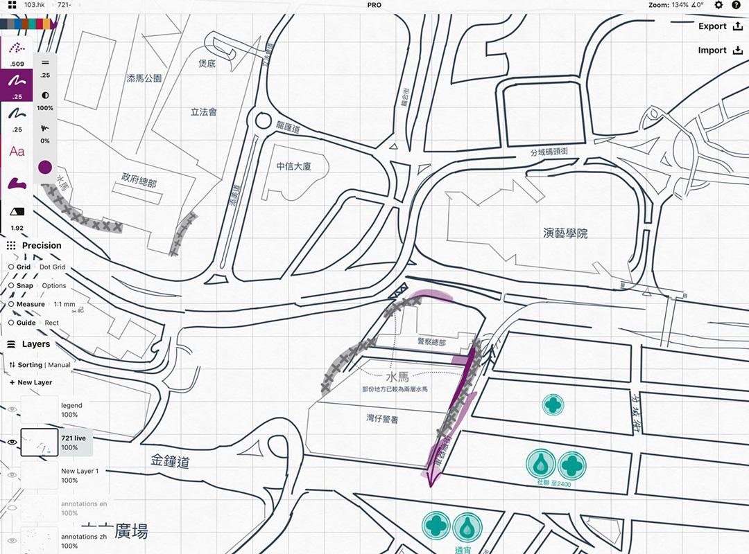103.hk 地圖的「畫家」會以人手在地圖上標示資訊。