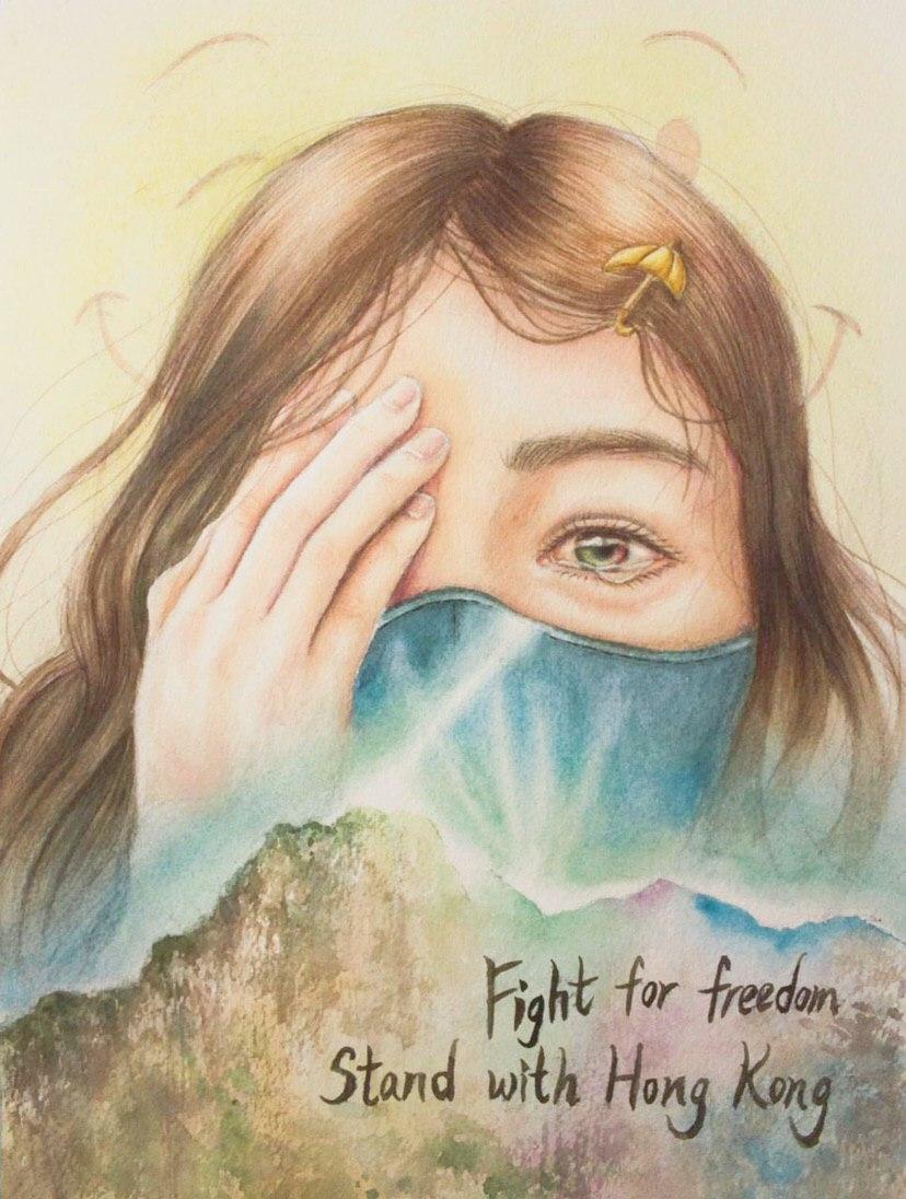 一名女示威者在尖沙咀疑被警方打爆右眼,激發網民創作的插畫。