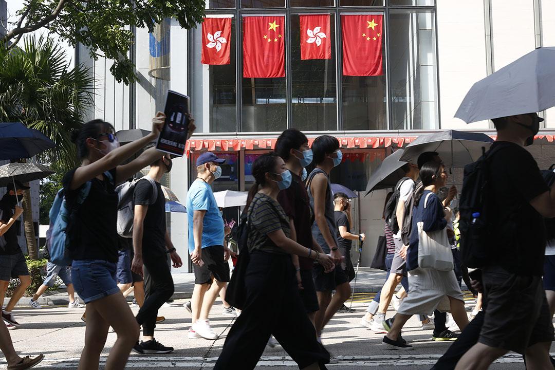 9月15日,下午3點左右,「國際民主日」遊行,示威者經過龍和道。
