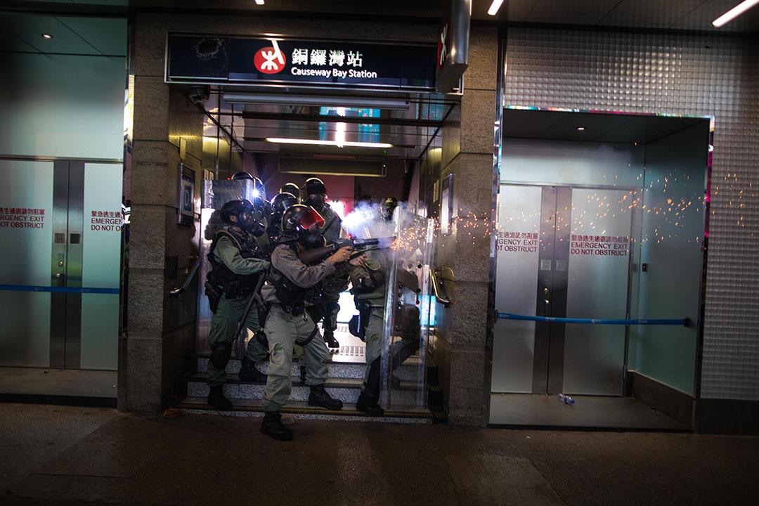 9月8日,晚上7點左右,銅鑼灣的防暴警察。
