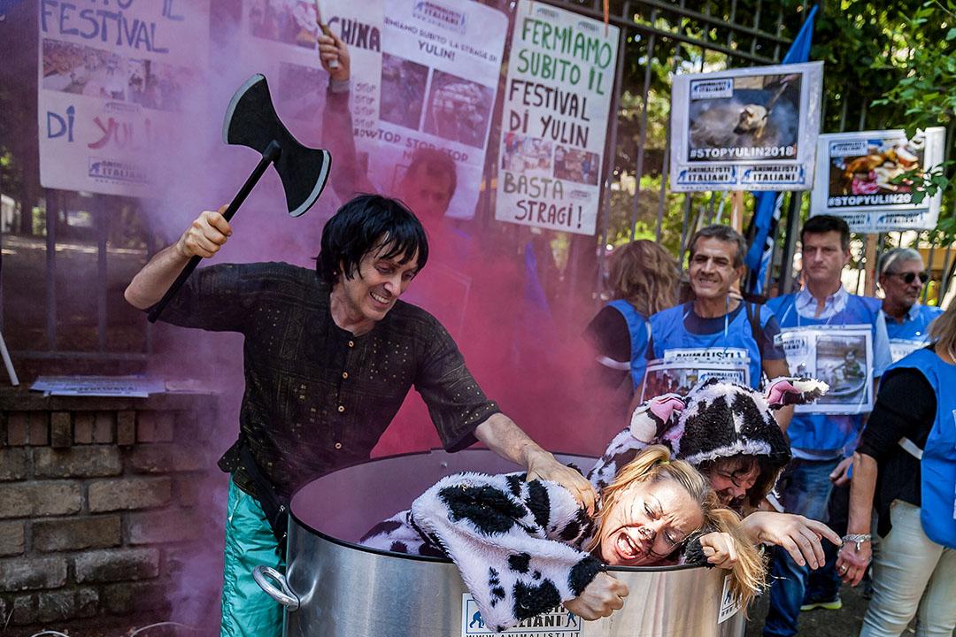 2017年6月21日,意大利羅馬,動物維權人士在中國大使館附近抗議玉林狗節。