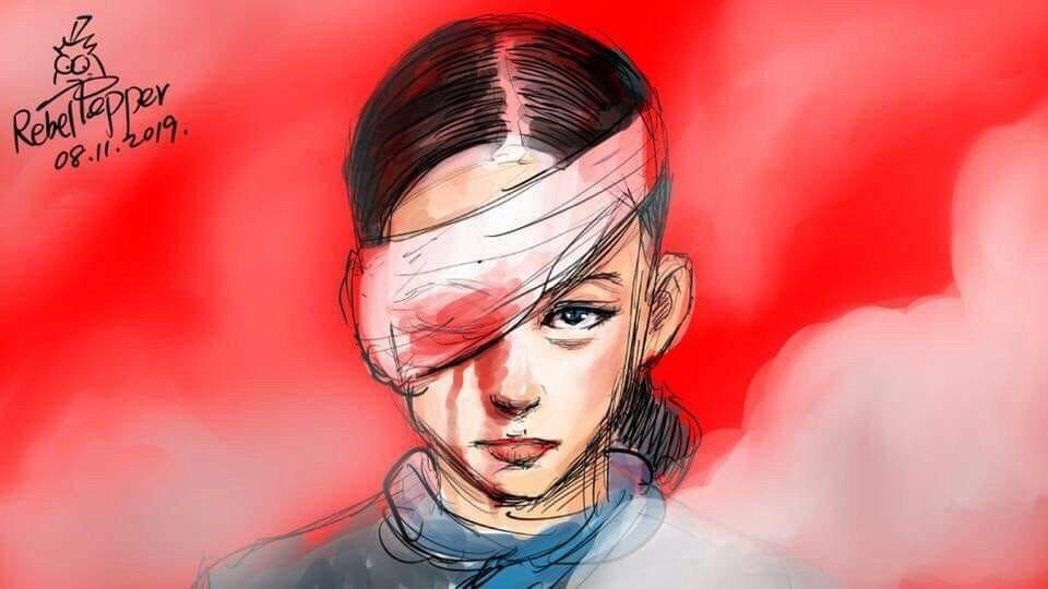 因一名女示威者在尖沙咀疑被警方打爆右眼,激發網民創作的插畫。
