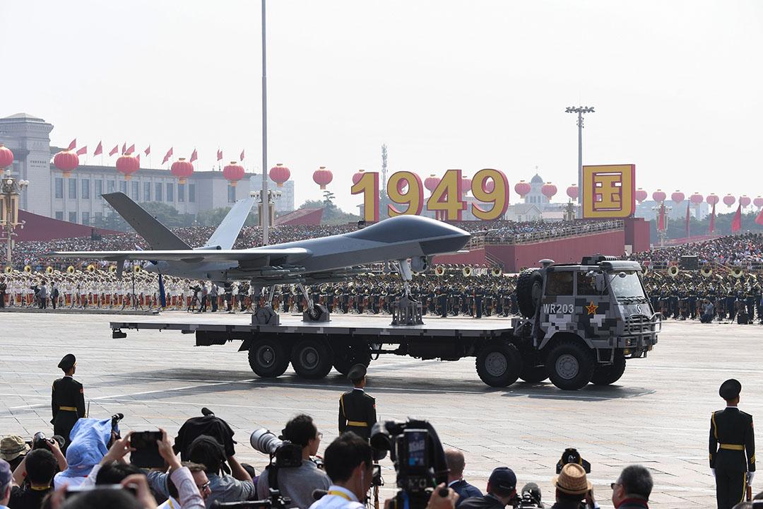 無人機在閱兵式展出。