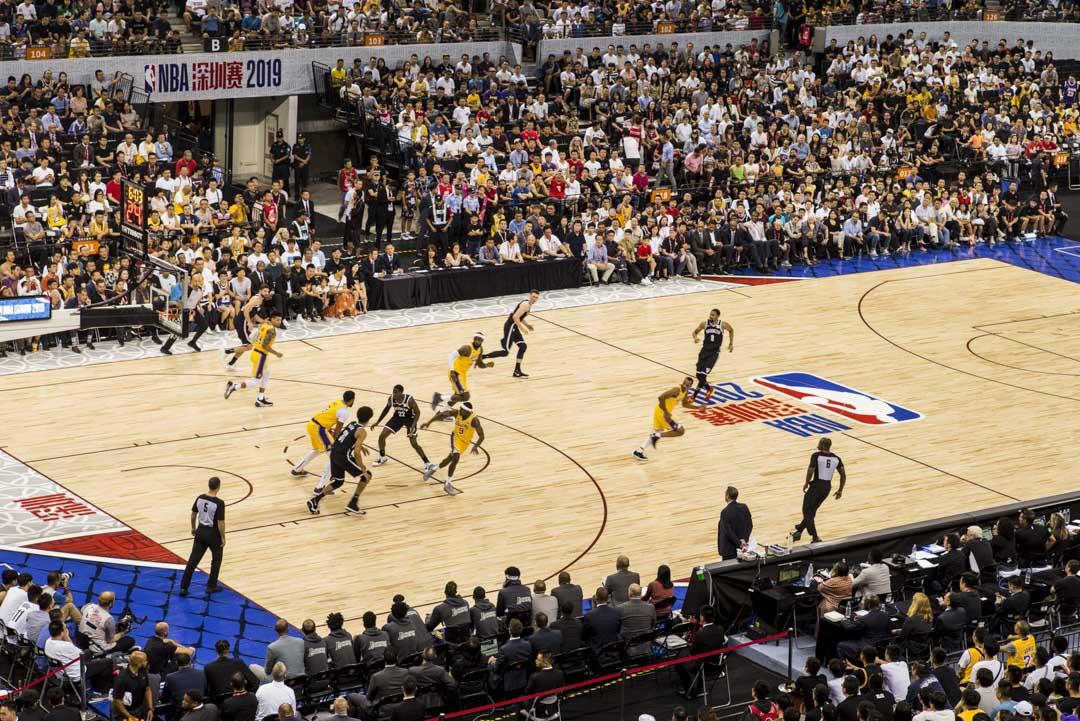 2019年10月12日,NBA中國賽深圳站湖人對籃網。