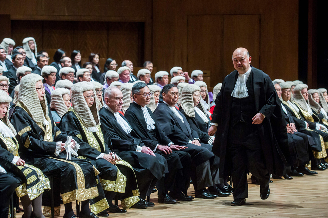 2019年1月14日,終審法院首席法官馬道立出席法律年度開啟典禮。 攝:Isaac Lawrence / AFP / Getty Images