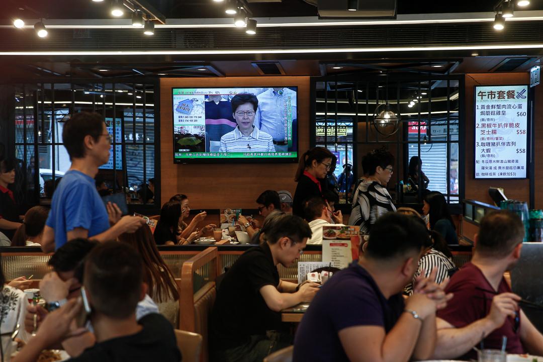 2019年10月5日,林鄭月娥發現電視講話,譴責蒙面示威者。