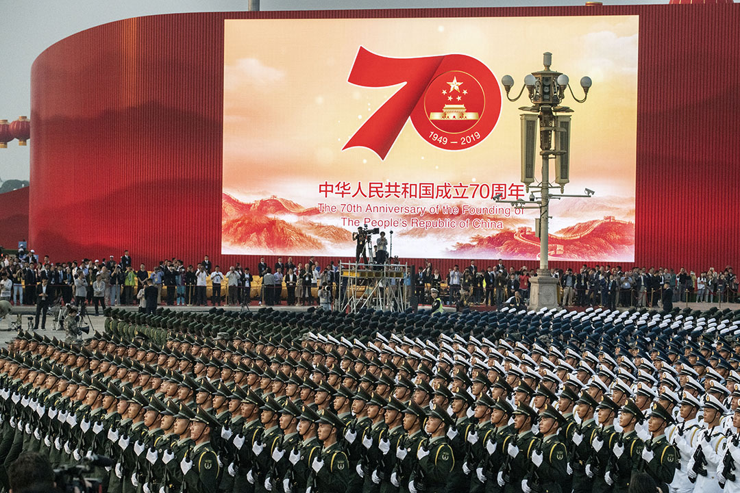 中國人民解放軍陸海空三軍儀仗隊在10月1日閲兵儀式正式開始前進行最後一次列隊演練。