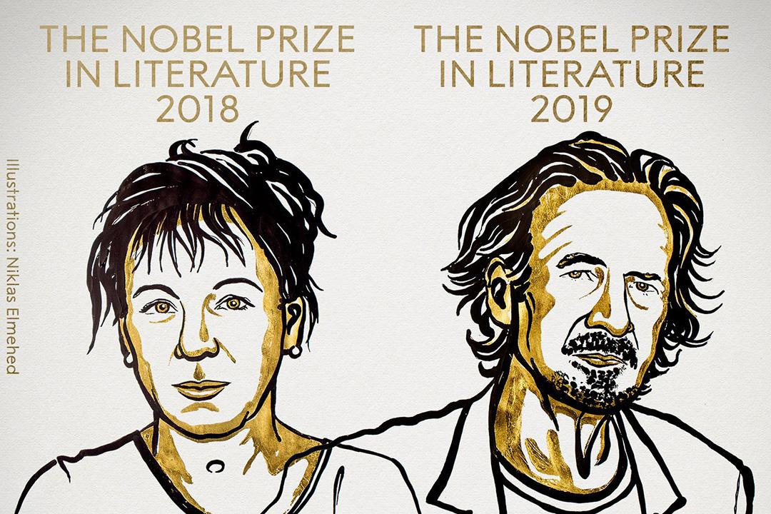 波蘭作家托卡爾丘克(Olga Tokarczuk)及奧地利作家漢德克(Peter Handke)分別獲得2018年和2019年諾貝爾文學獎。 圖:諾貝爾獎官方 Twitter