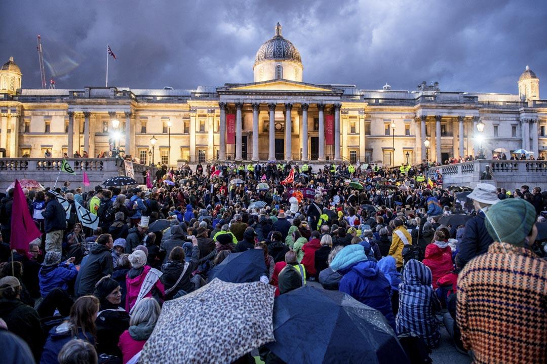 2019年10月17日,在特拉法加廣場(Trafalgar Square)的反氣候變化集會。
