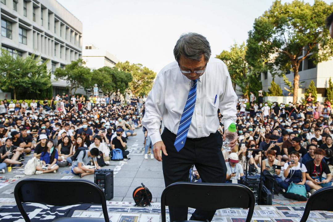 2019年10月3日,中大校長段崇智與學生的對話現場。 攝:林振東/端傳媒