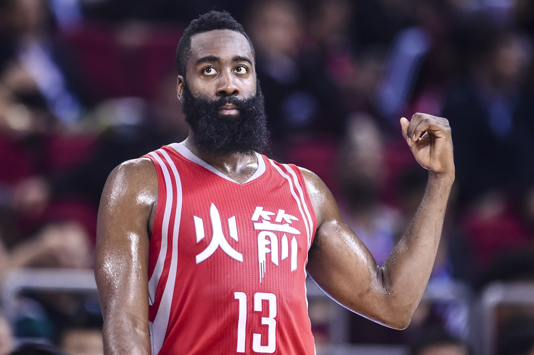 2016年10月12日,NBA 休斯頓火箭隊在中國北京參加比賽,球員James Harden。 攝:Visual China Group via Getty Images/Visual China Group via Getty Images