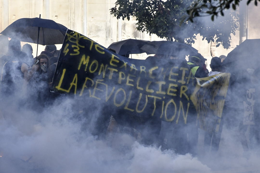 2019年9月7日,法國南部蒙彼利埃舉行的黃背心運動,有支持香港的標語。