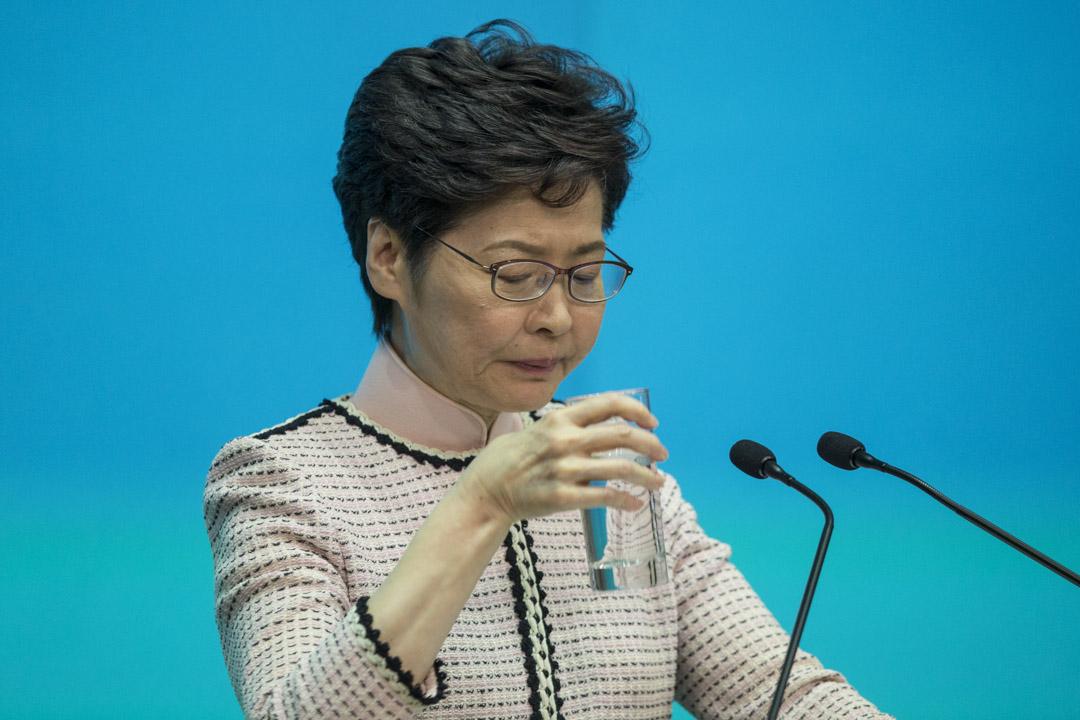 2019年10月16日,香港特首林鄭月娥就施政報告舉行記者會。 攝:林振東/端傳媒
