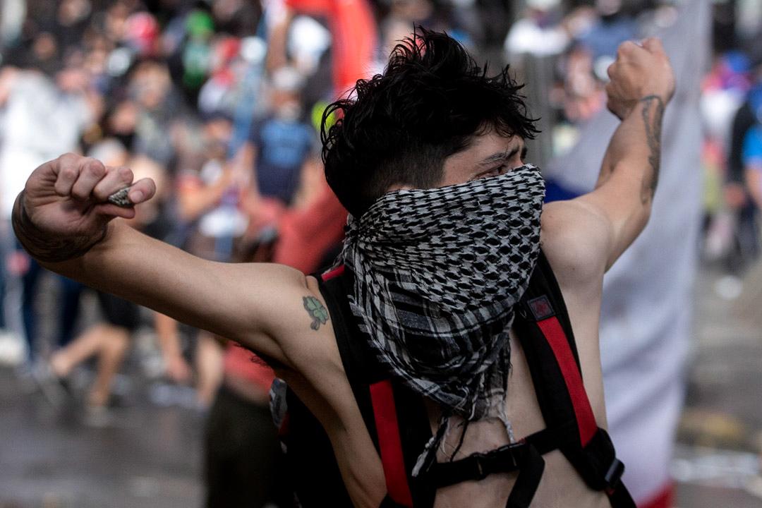 2019年10月22日,智利示威者連續第五天走上街頭。