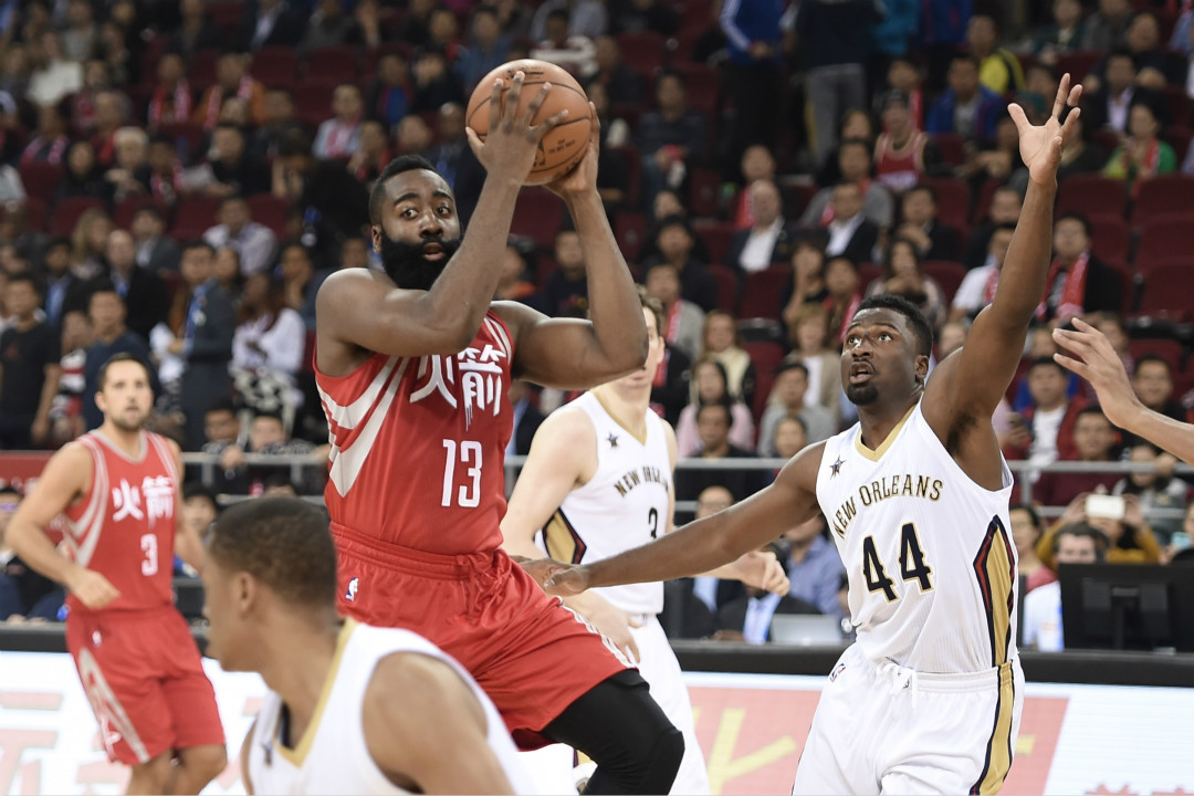 2016年10月12日,NBA 休斯頓火箭隊在中國北京參加比賽。 攝:Getty Images
