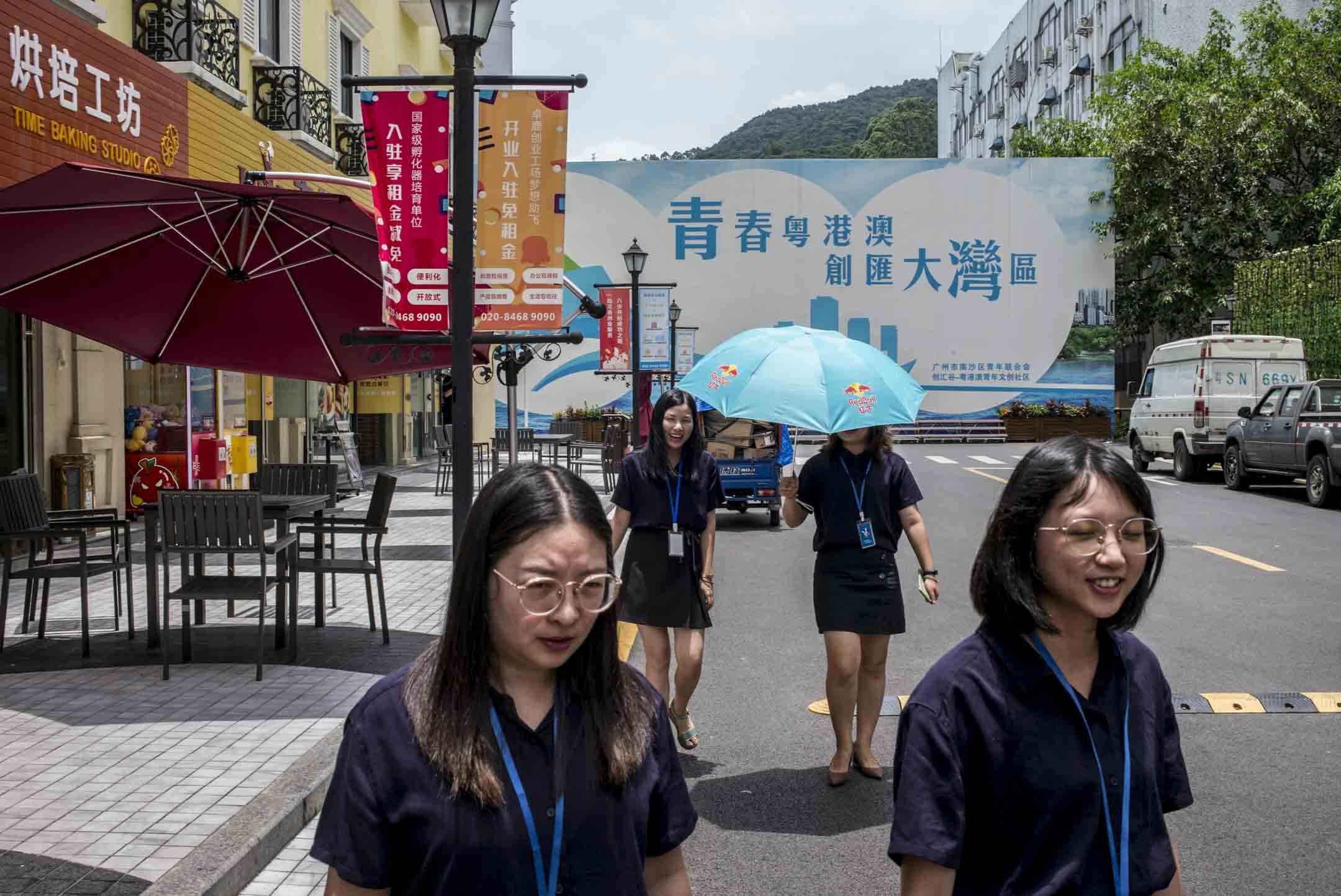 創匯谷園區屬於活化工廈,負責人表示希望在南沙建立一個粵港澳文創社區,專門扶持一些香港的文創初創企業。 攝:林振東/端傳媒